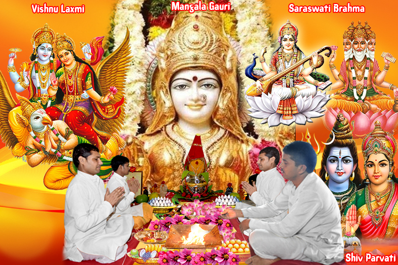 Shiv Parvati Puja Vishnu Laxmi Puja Brahma Saraswati Puja Mangal Gauri Puja